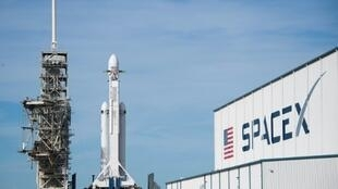 The SpaceX Falcon Heavy sits on Pad 39A at the Kennedy Space Center in Florida ahead of its expected launch