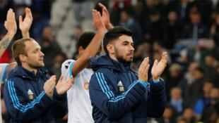 L'Olympique de Marseille fête sa victoire contre Bilbao, le 8 mars 2018, au Stade Velodrome de Marseille.