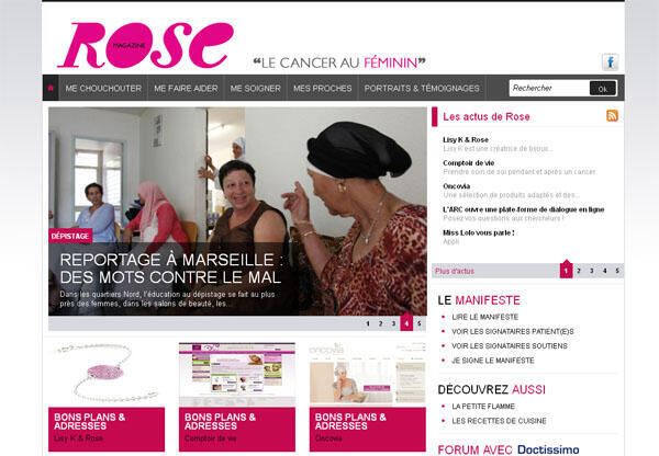 Capture d'écran de la page d'accueil du magazine féminin «Rose».