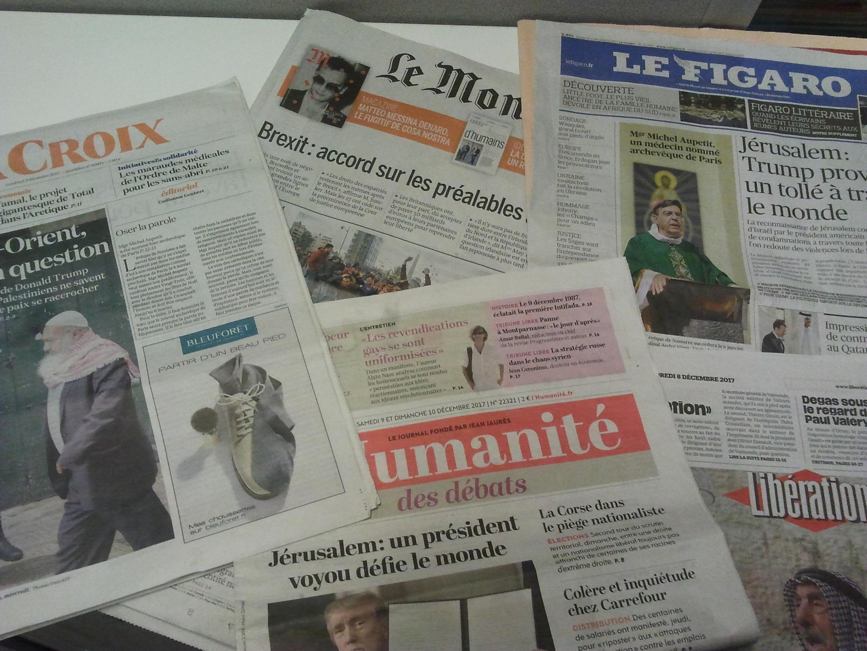 Primeiras páginas dos jornais franceses de 8 de dezembro de 2017