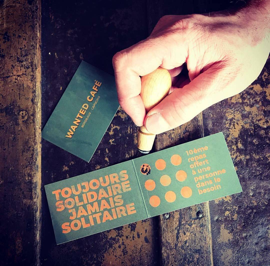 A frequent visitor card at the Wanted Cafe in Bordeaux: nine meals purchased offers a free meal to someone else