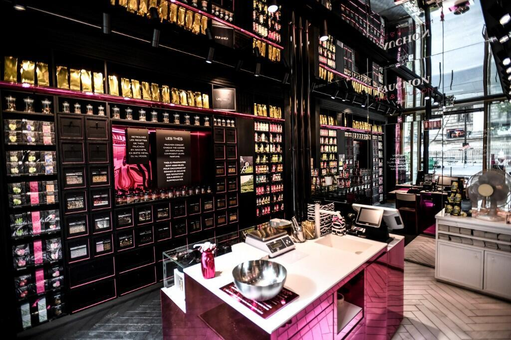 Tea products are displayed at a tea shop 'The et infusion' of French gourmet food grocery Fauchon at Place de la Madeleine in Paris.
