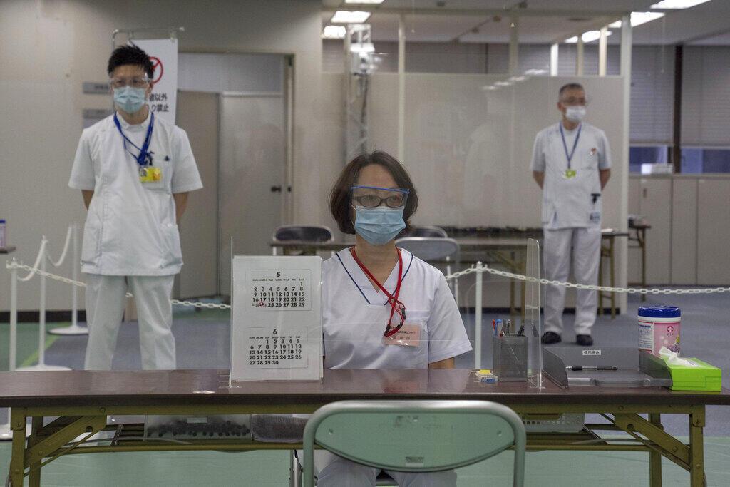 資料圖片:日本東京某新冠疫苗接種中心。攝於2021年5月24日
