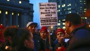 Manifestation pour l'augmentation des plus bas salaires, à New-York, en décembre 2013