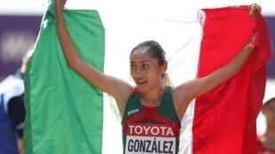 María Guadalupe 'Lupita' González se llevó la medalla de plata en los 20 kilómetros marcha, este 13 de agosto de 2017.