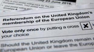 Le bulletin de vote pour le référendum du 23 juin sur une sortie ou non de l'Union européenne du Royaume-Uni.