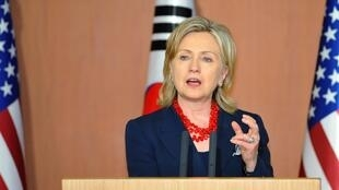 US Secretary of State HIllary Clinton speaking in South Korea on 21 July 2010.