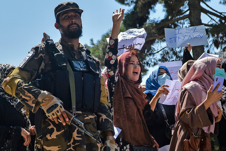 Manifestación frente a la embajada de Pakistán en Kabul, Afganistán, el 7 de septiembre de 2021