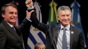 Jair Bolsonaro et Mauricio Macri à la 54e rencontre des chefs d'États du Mercosur, le 17juillet 2019.
