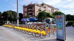 中國泉州共享單車一景