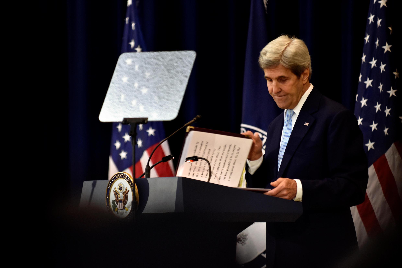 John Kerry, ici le 28 décembre 2016 à Washington, s'inquiète pour la solution de paix à deux Etats.