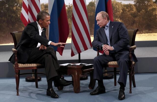 Shugaban Amurka Barack Obama da shugaban Rasha  Vladimir Putin suna ganawa a Taron G8