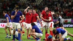 La joie des Gallois après leur succès contre la France et leur qualification pour les demi-finales du Mondial de rugby.