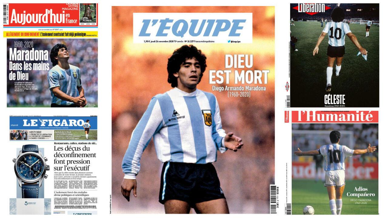 """Todos los diarios franceses de este jueves rinden homenaje a Diego Maradona. Para el deportivo L'Equipe, simplemente, """"murió Dios""""."""