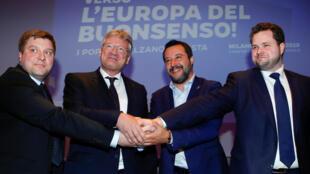 Matteo Salvini, líder de la Liga, con responsables de partidos ultraderechistas de Finlandia, Alemania y Dinamarca.