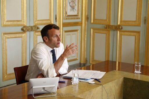 Le président français Emmanuel Macron, ici le 16 avril 2020 à l'Élysée.
