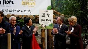 法国第一夫人布吉丽特马克龙(右一)和中法官员出席在法国出生的熊猫圆梦命名仪式 2017年12月4号