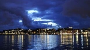 he skyline of Aker Brygge, the Norwegian capital Oslo's waterfront and entertainment area