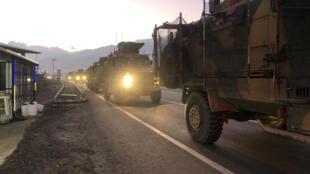 Một đoàn xe quân sự Thổ Nhĩ Kỳ tại Kilis, sát biên giới với Syria, ngày 22/12/2018.