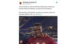 L'hommage de l'AS Rome à Joseph Bouasse Ombiogno Perfection.
