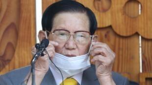 新天地会教主李万熙(Lee Man-hee)2020年3月资料图片