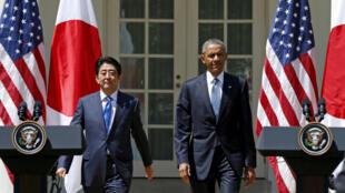 Thủ tướng Abe và tổng thống Obama tại cuộc họp báo ở Nhà trắng ngày 28/04/2015.