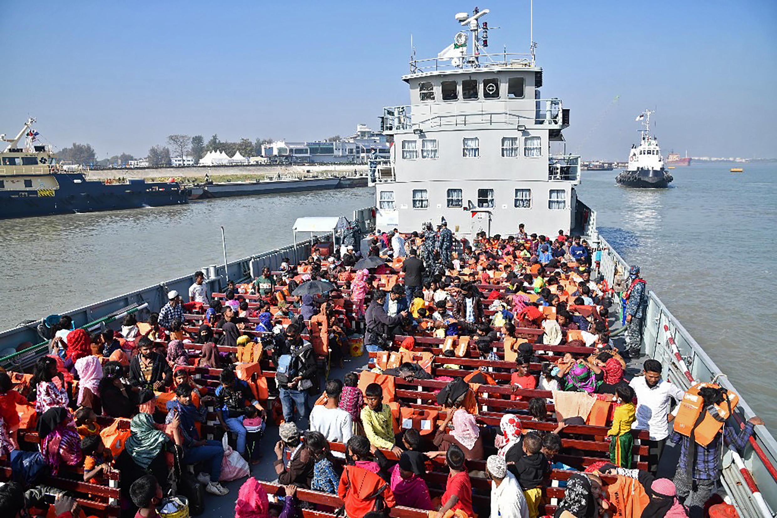 Hundreds of Rohingyas were moved by boat to the remote island of Bhashan Char in the Bay of Bengal in December 2020, part of the Bangladesh government's plan to decongest refugee camps in Cox's Bazar.