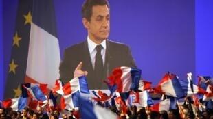 Ứng cử viên tổng thống mãn nhiễm Nicolas Sarkozy đã có cuộc mít tinh rầm rộ tại  Villepinte ngày 12/03/2012.