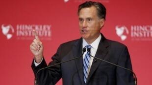 Mitt Romney wakati wa hotuba yake, Alhamisi MAchi 3, katika jimbo la Utah, MArekani.