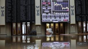 Quadro de cotações na Bolsa de Madri