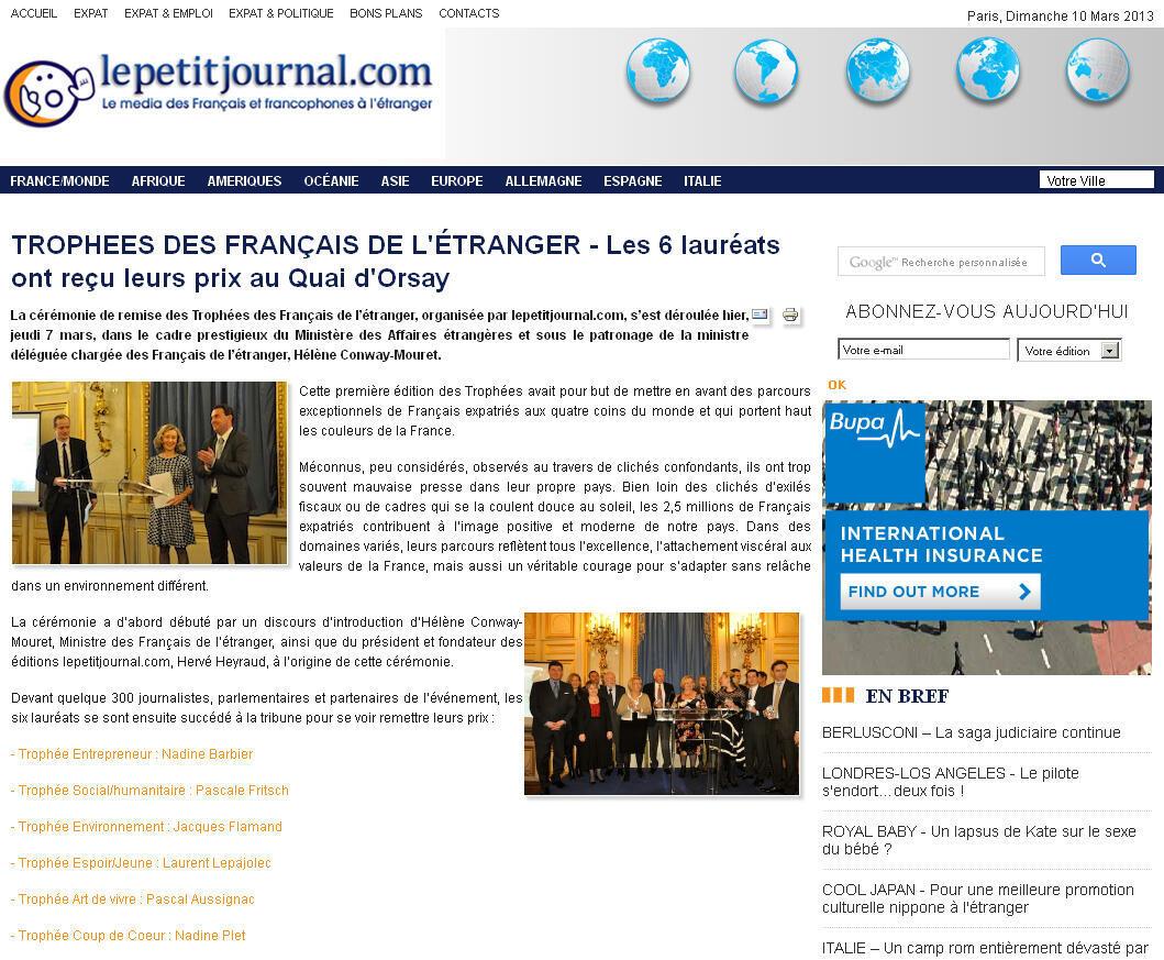 Capture d'écran du site du média des Français et francophones à l'étranger, organisateur de l'évènement.