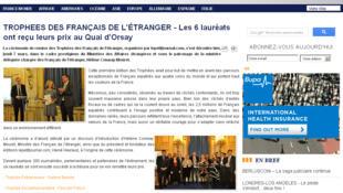 Capture d'écran du site du média des Français et francophones à l'étranger, lepetitjournal.com.