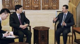 中国特使、外交部副部长翟隽2012年2月18日在大马士革与叙利亚总统阿萨德会谈。