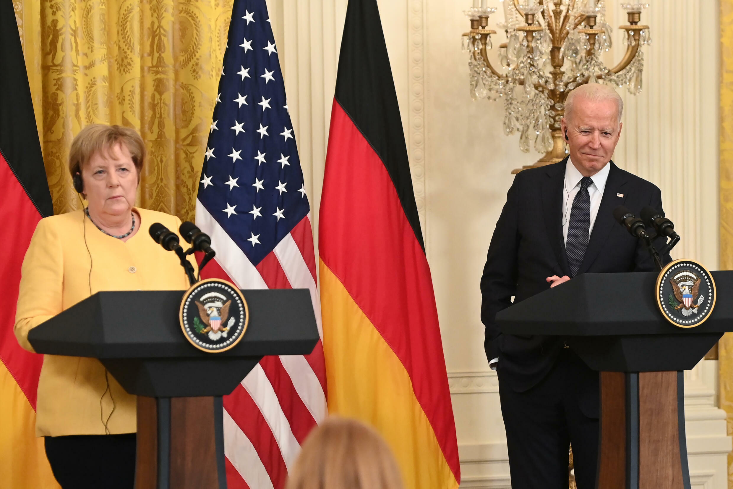 US President Joe Biden and German Chancellor Angela Merkel hold a joint press conference on July 15, 2021 in which they discuss Nord Stream 2