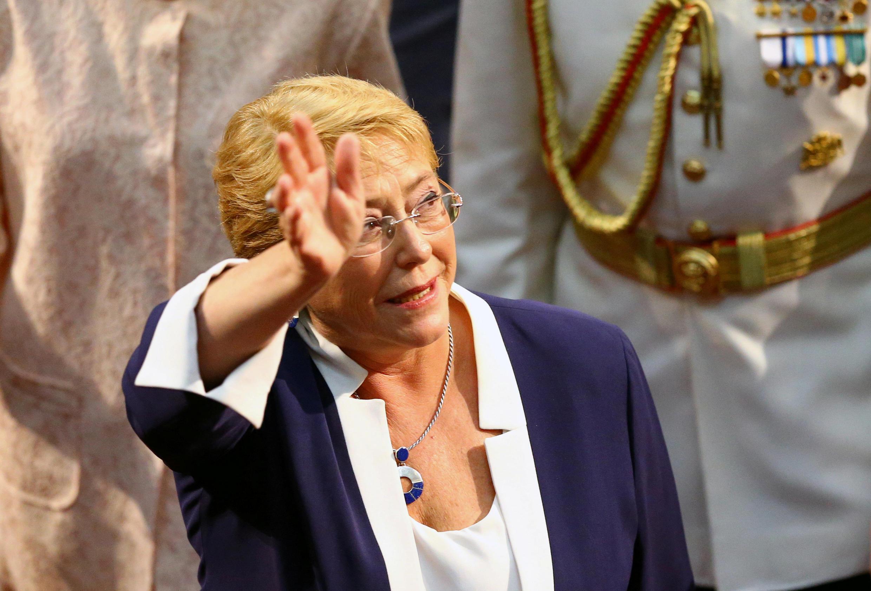 L'ex-présidente chilienne Michelle Bachelet, ici le 11 mars 2018 lors de la cérémonie d'inauguration du nouveau président, Sebastian Pinera à Valparaiso.