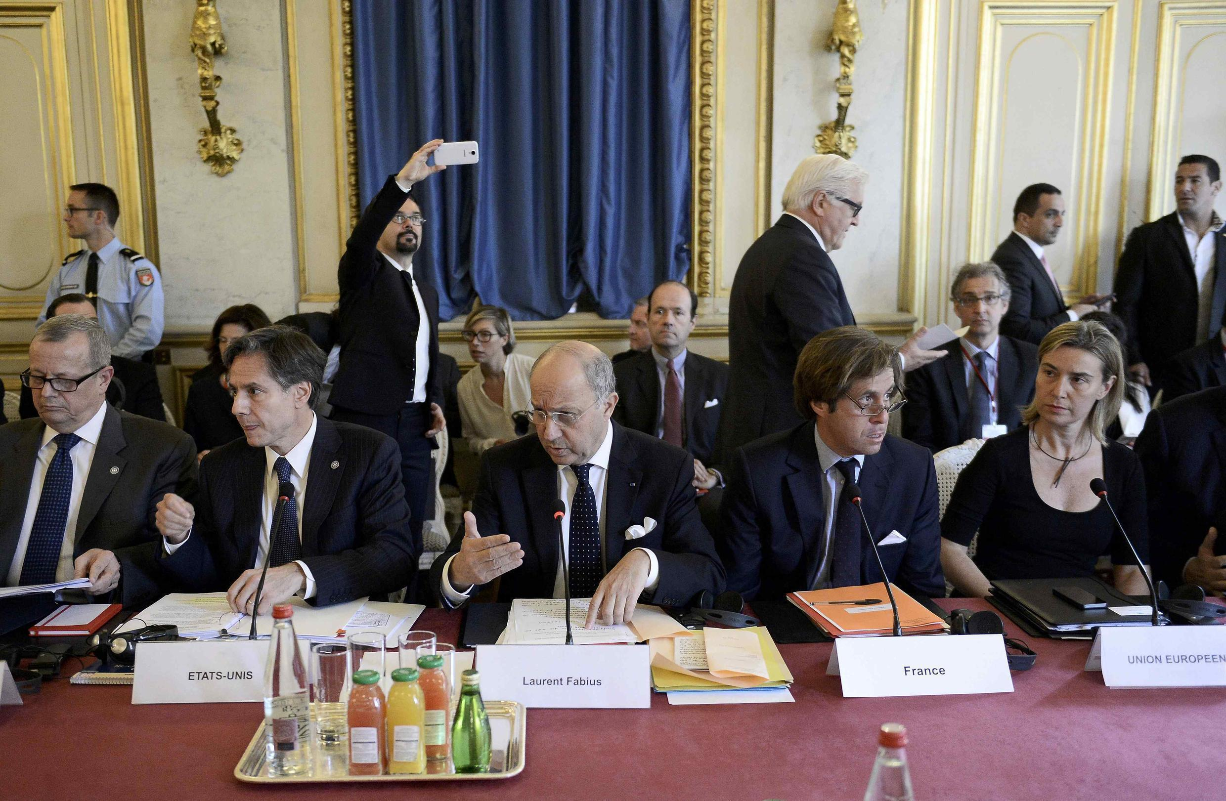 French Foreign Minister Laurent Fabius  attends a meeting with members of the anti-Islamic State coalition in Paris on June 2, 2015.