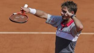 Stanislas Wawrinka comemora sua primeira presença na final de Roland Garros.