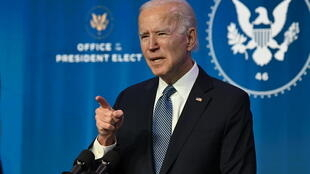 US President-elect Joe Biden speaks at The Queen theater in Wilmington, Delaware on January 7, 2021