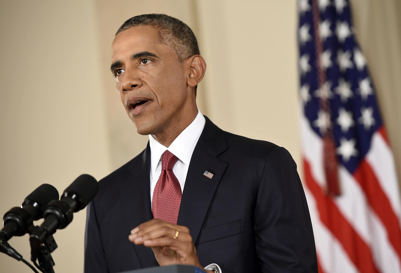 """Президент США Барак Обама рассказывает о стратерии борьбы с """"Исламским государством"""", Вашингтон, 10 сентября 2014 г."""