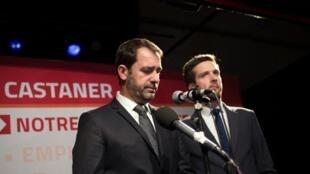 Christophe Castaner, líder dos socialistas no sul da França, anuncia a derrota do partido, em 3° lugar com 16,59% de votos.