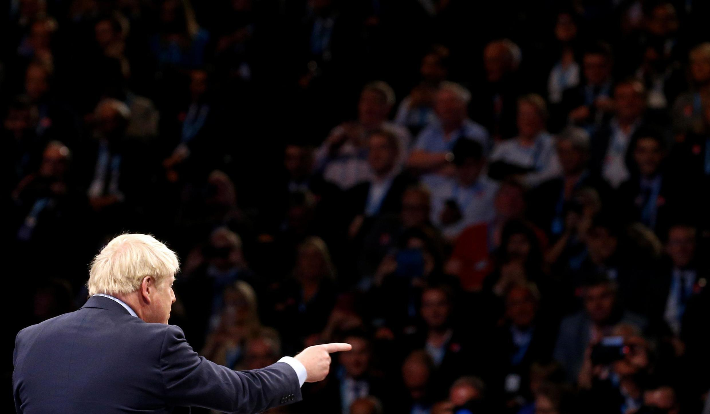 O primeiro-ministro Boris Johnson em Manchester, outubro de 2019.