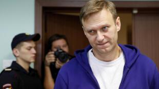 Оппозиционер Алексей Навальный в здании Мосгорсуда, 6 октября 2017.