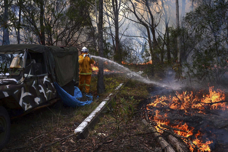 Lực lượng cứu hỏa đang dập một đám cháy nhỏ ở khu rừng phía tây nước Úc, ngày 20/10/2013