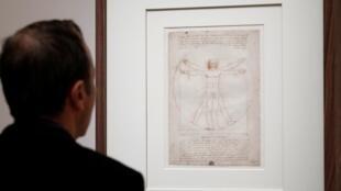 L'Homme de Vitruve photographié durant la visite de presse de l'exposition Léonard de Vinci, au Louvre.