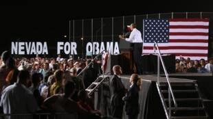 Barack Obama en campagne au Desert pines high school, à Las Vegas, dans le Nevada, le 30 septembre 2012.