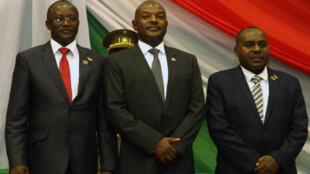 O presidente Nkurunziza  no dia  20 de Agosto de  2015, por ocasião da tomada de posse do seu novo governo.