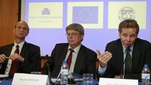 Пресс-конференция Европейского центрального банка и Еврокомиссии МВФ по Португалии. Лиссабон 05/05/2011