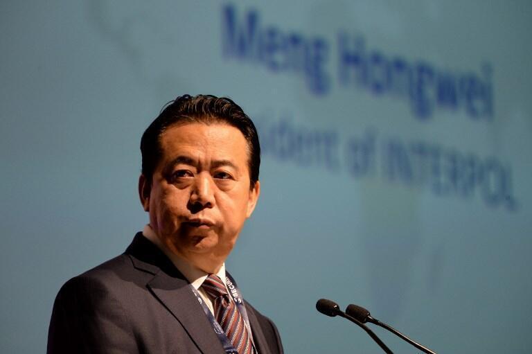 Ông Mạnh Hoành Vĩ, chủ tịch Interpol phát biểu tại hội nghị Interpol thế giới tại Singapore ngày 04/07/2017.