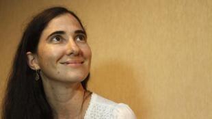 La blogueuse cubaine Yoani Sanchez lors de son arrivée au Brésil, ce 18 février 2013.