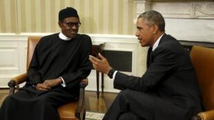 Le président américain Barack Obama et son homologue nigérian Muhammadu Buhari à la Maison Blanche, le 20 juillet 2015.